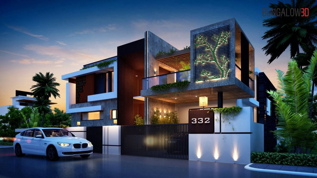 3D animation rendering service provider op-company in India luxurious villas exterior designing night view warms eye view