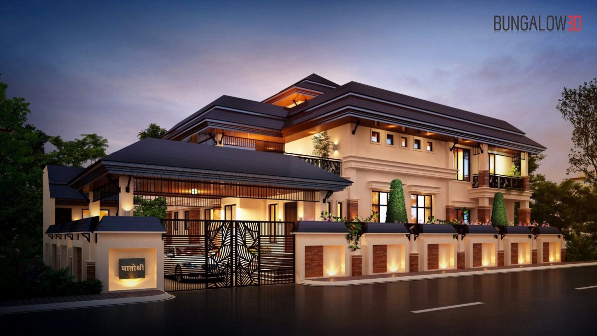 3D architectural rendering traditional villas eye level view night view