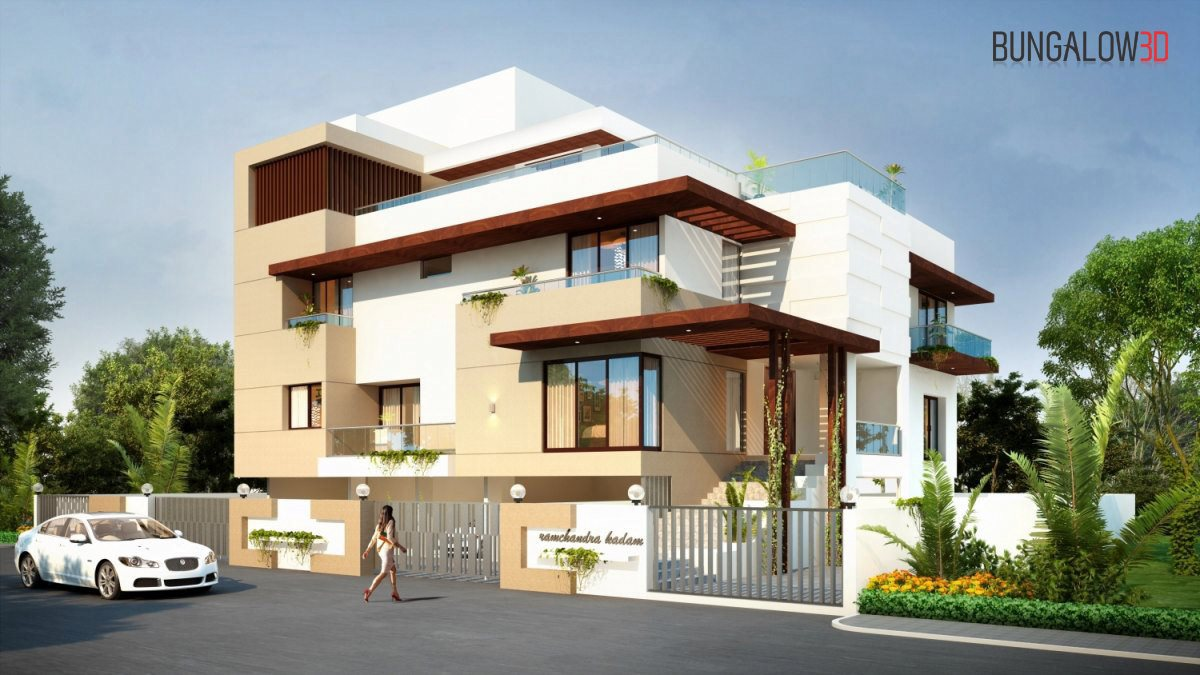 3D exterior designing front view classic villas day view 3D rendering companies architectural